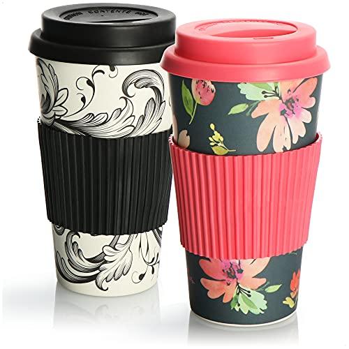 com-four 2X Tasse de café à emporter en Plastique - Tasse à café à...