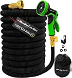 Mueller Heavy Duty Expandable Garden Hose 50 FT, Heavy Duty, Lightweight, Drinking Water Safe, 3/4' Solid Brass Fittings, Automatically Expands and Self-Drains, Kink and Tangle Resistant
