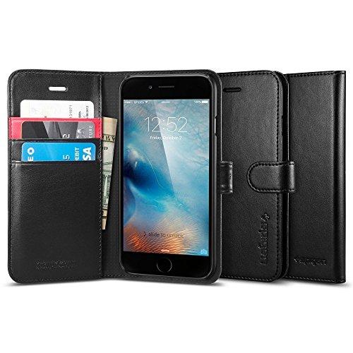【Spigen】iPhone6s ケース / iphone6 ケース レザー手帳型ケース ウォレットS (ブラック SGP03380)