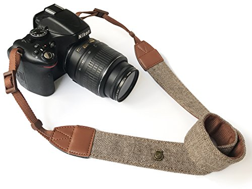 Camera Neck Shoulder Belt Strap,Alled Leather Vintage Print Soft Camera Straps for Women/Men for DSLR/SLR/Nikon/Canon/Sony/Olympus/Samsung/Pentax (Soft Brown New)