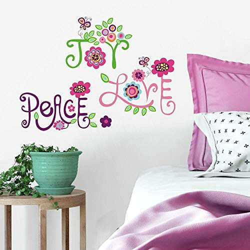 RoomMates RMK1649SCS Love, Joy, Peace Peel and Stick Wall Decals,Multicolor,10 inch x 18 inch