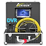 Pipe Pipeline Inspection Camera,Anysun 50m-165FT Cable Drain Sewer Industrial Endoscope Waterproof...