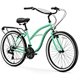 sixthreezero Around The Block Women's 21-Speed Beach Cruiser Bicycle, 26' Wheels, Mint Green with Black Seat and Grips