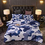 Btargot Camouflage Comforter Sets, Illustration with Abstract Soft Colors Pattern Camouflage Design, Decorative 1 Piece Comforter with 2 Pillow Shams, Full Size, Blue