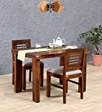 RK WOOD Sheesham Wood Dining Table with 2 Chairs for Living Room- Provincial Teak Finish