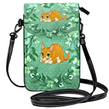 Lawenp Flower Cat Green Small Leather Crossbody Bag RFID Bloqueo Billetera Monedero Bolsas de teléfono para viajes Chicas Mujeres