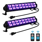 Gohyo 2 Pack 108W LED Black Light, Super Bright UV Black Light Bar with Recomote Control, Light Up 40x40ft for Glow Party, Stage Lighting, Body Paint, Fluorescent Poster, Birthday Wedding Party