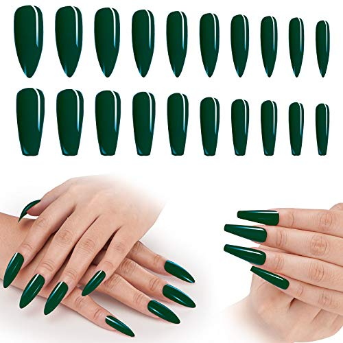 Green Press On Nails, 200PCS Cosics 2IN1 Long Ballerina Coffin & Almond Shaped Acrylic Nails, Glossy Dark Green False Nail Tips with Storage Box for Women Girls Halloween Christmas Party Nail Art DIY