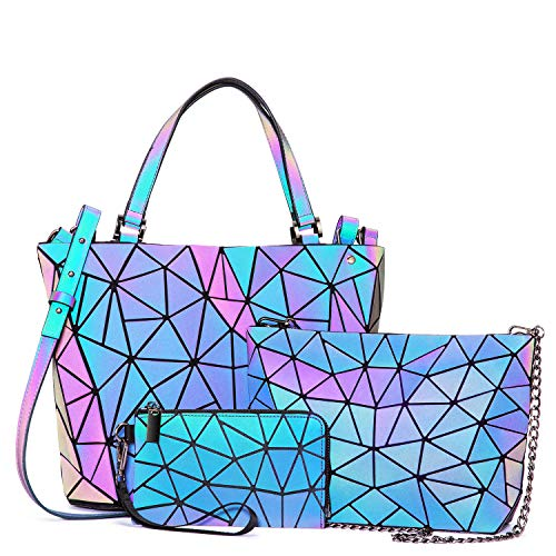 51O6LtvCnNL It is Geometric Luminous Handbag and Wallet sets. Stylish and cool design, the color changes with the light ,which makes it so special and chic, a trend of fashion. Handbags + Wallet combination package to meet all your daily needs. The detachable shoulder strap allows you to switch between the Luminous handbag and the Luminous crossbody bag, making it easier to travel and use