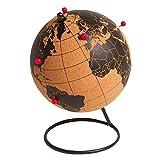 Sud Trading - Globe Terrestre en liège sur Pied avec Epingles Rouges, 14,5cm de diamètre
