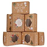 Christmas Cookie Boxes with Window, KKTICK 12 Pack Candy Bakery Treat Boxes for Gift Giving, Large Brown Kraft Packaging, Holiday Decorated Cardboard Packaging with Lids