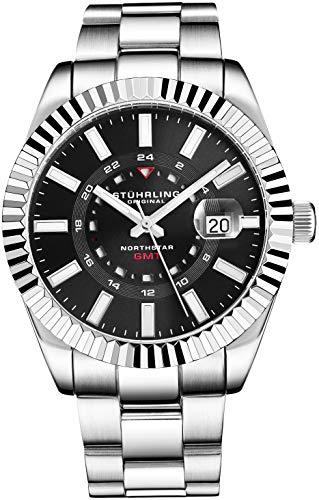 Stuhrling Original Herrenuhr Northstar aus Edelstahl, Schweizer Quarz, Dual Time, Datum mit Quickset, geriffelte Lünette, konisches Armband aus gebürstetem poliertem Armband (Black)