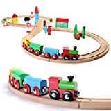 SainSmart Jr. Wooden Train Set Toy with Double-Side Train Tracks, 4 Magnetic Train Cars and Wooden Bridge Railway Set for Toddlers, 37 PCS