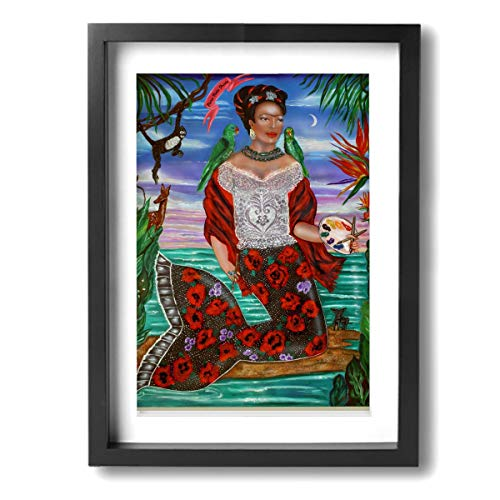 Pintura C Frida Kahlo Mexicana Folk Wall Art Paintings Stretched Canvas Framed For Home Decorations 12 x 16 Inch, Madera, Negro, Talla única