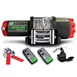 STEGODON 4500 lb. Load Capacity Electric Winch,12V Steel Cable Winch with Wireless Handheld Remote and Wired Handle, IP67 Waterproof Electric Winch with 4-Way Roller Fairlead