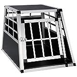 EUGAD Trasportino per Animali Cuccia per Cane da Esterno Box da Cani per Auto in Alluminio Trapezoidale Nero 0050HT