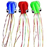 Hengda kite-Pack 3 Colors(Red&Green&Blue) Beautiful Large Easy Flyer Kite for Kids-Software Octopus-It's Big! 31 Inches Wide with Long Tail 157 Inches Long-Perfect for Beach or Park
