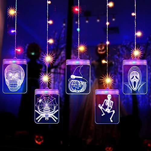 Cadena Cortina de Luces LED, Lypumso Luces de Halloween Tira Luminosa con 5 Placas con Patrones Halloween , Decoración Interior y Exterior, Alimentada por USB (Halloween)