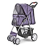 Flexzion Pet Stroller (Light Purple) Dog Cat Small Animals Carrier Cage 4 Wheels Folding Flexible Easy to Carry for Jogger Jogging Walking Travel Up to 30 Pounds with Sun Shade Cup Holder Mesh Window