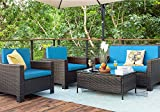 Homall 5 Pieces Outdoor Patio Furniture Sets Rattan Chair Wicker Conversation Sofa Set, Outdoor Indoor Backyard Porch Garden Poolside Balcony Use Furniture (Blue)
