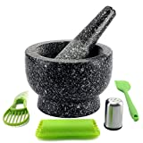 IPROUDER Mortar and Pestle Set- 6 inch, 2 Cup - Granite Molcajete, Solid Stone Grinder, Guacamole Bowl, Polished Grinding Bowl and Pestle, Included: Salt Shaker+Avocado Slicer+Spatula+Garlic Peeler