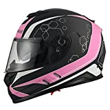Triangle Motorcycle Street Bike Dual Visor Helmets DOT Approved (Matte Pink, X-Large)