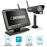 Defender PHOENIXM2 Wireless Outdoor Security Camera System with a 7' High Resolution Monitor,One Night Vision Camera, Two Way Communication and SD Card Recording, Plug and Play