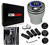 ICBEAMER Shift Knob [Blue LED Light] Aluminum Silver Color for Manual Transmission 5 6 Speed Universal fit (2019 New)