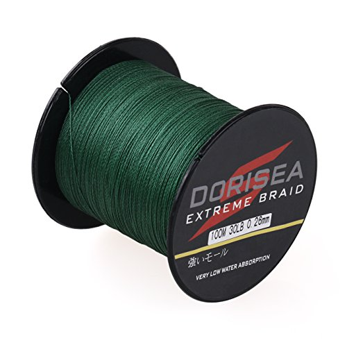 Dorisea Extreme Braid 100% Pe Moss Green Braided Fishing Line 109Yards-2187Yards 6-550Lb Test...
