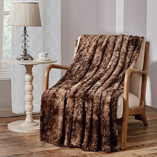 Viviland Manta de Tiro de Piel sintética, Manta Felpa Suave Shaggy Fleece, Lavable a máquina, marrón, 130cm×150cm