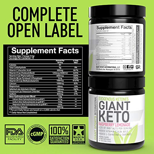 Giant Keto-Exogenous Ketones Supplement - Beta-Hydroxybutyrate Keto Powder Designed to Support Your Ketogenic Diet, Boost Energy and Burn Fat in Ketosis - Raspberry Lemonade - 15 Servings … 4