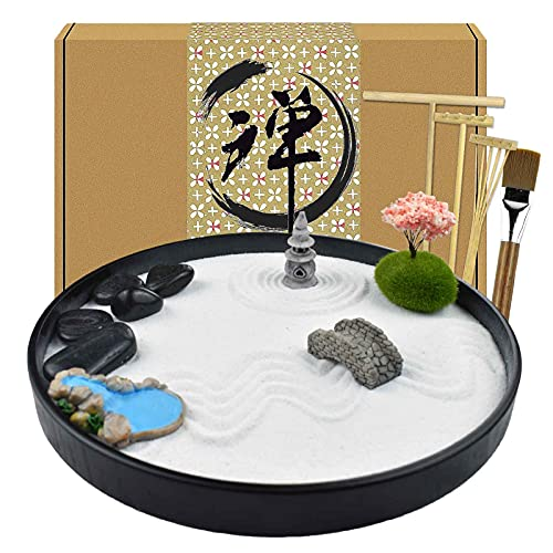 Artcome Japanese Zen Sand Garden for Desk with Rake, Stand, Rocks and...