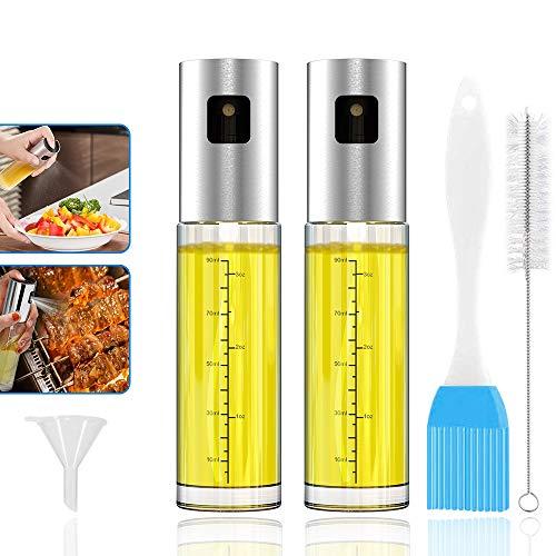 GeeRic Pulverizador de Aceite para cocinar Botella de Vidrio de Grado alimenticio de 3.4 onzas Capacidad para 2 onzas Dispensador de Aerosol de vinagre y Niebla para cocinar para cocinar Ensalada