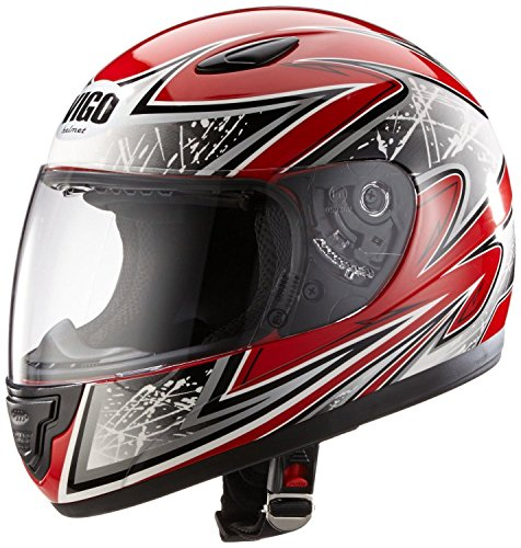 Protectwear Casque moto pour enfant, rouge/argenté, SA03-RT, Taille: S / Youth XL (54/55 cm)