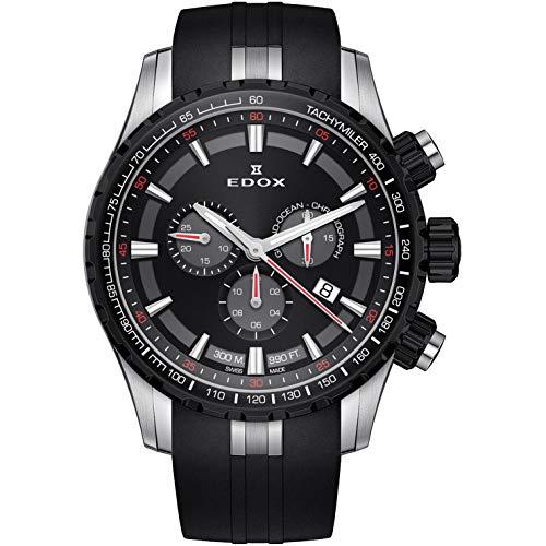 Edox Grand Ocean Herren-Armbanduhr 45mm Armband Kautschuk Gehäuse Edelstahl Batterie 10226 357NCA NINRO
