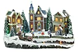 Top Treasures Large Snow Village Lighted Resin Christmas Houses with 4 Moving Skaters | Perfect Addition to Your Christmas Indoor Decorations & Christmas Village Displays
