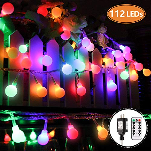 MIBOTE Globe String Lights, 55ft 112 LEDs Colored Fairy Lights...