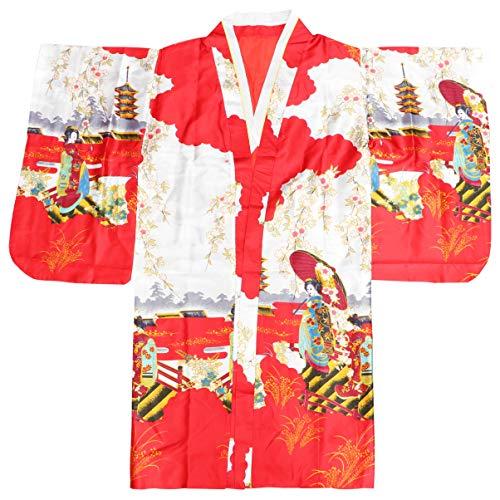 Pretyzoom jaqueta de banho japonesa tradicional de seda quimono japonesa yukata pijama cosplay lolita vestido roupa fotografia desempenho fantasia para mulheres menina vermelha, vermelho, medium