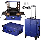 AW Blue Rolling Makeup Case with Mirror Light Cosmetic Work Station Storage Luggage Travel Studio Extendable Tray Wheel