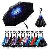 Jooayou Parapluie Inversé, Anti-UV Double Couche Coupe-Vent Parapluie, Mains...