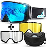 Athletrek Ski & Snowboard Goggles | 3 Unique Magnetic Fast Changing Lenses for All Weather Conditions | UV400 Protection OTG Wide Vision Spherical Anti-Fog Dual Lens | Anti-Slip Strap | Adult & Youth