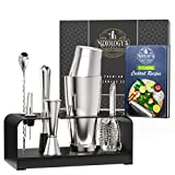 Mixology Bartender Kit with Free Recipe Book - Bar Set Includes Boston Shaker, Jigger, Hawthorne Strainer - Sleek, Stylish Cocktail Shaker Set Makes Perfect Housewarming Gift