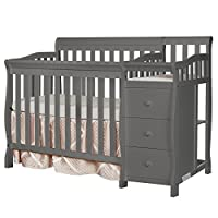 CONVERTIBILITY OPTIONS: The Jayden 4-in-1 Mini Convertible Crib and Changer grows along with your child. Starting as a crib, you can convert it into a mini daybed and twin-size bed (bed rails sold separately)! Its compact size makes it ideal for smal...