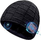 COTOP Bonnet Bluetooth 5.0 Homme Idee Cadeau Noel,Unisexe Ski Music Bonnet Bluetooth d'hiver,Chapeau Chaud Doux avec écoute Stéréo HD Microphone, adapté Sports, Camping, Patinage,Course à Pied (Noir)