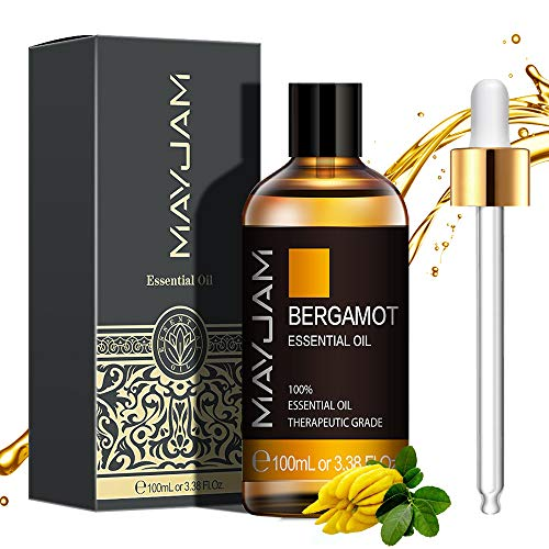 MAYJAM Aceites Esenciales de Bergamota 100 ml, 100% Aceites Esenciales Naturales Puros, Aceite Esencial de Aromaterapia de Grado Terapéutico, Aceites de Fragancia para Difusor Humidificador