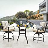 LOKATSE HOME 3 PCS Outdoor Patio Bistro Swivel Bar Sets with 2 Stools and 1 Glass Top Table, White Cushions