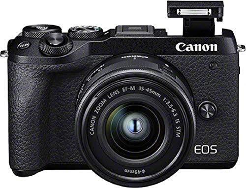 Canon EOS M6 Mark II Systemkamera Gehäuse - mit Objektiv EF-M 15-45mm F3.5-6.3 IS STM Kit (32,5 Megapixel, 7,5 cm (3,0 Zoll), Touchscreen LCD, Display, Digic 8, 4K Video, WLAN, Bluetooth), schwarz