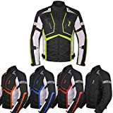 Motorcycle Jacket For Men Textile Motorbike Dualsport Enduro Motocross Racing Biker Riding CE Armored Waterproof All-Weather (Hi-Vis Green, 4XL)
