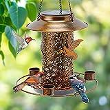 HCVINRK Solar Bird Feeder for Outdoors Hanging,Wild Bird Feeder Squirrel Proof for Outside Clearance, Metal Bird Water Feeder Cup for Solar Lights Outdoor Garden Waterproof, Ideas Gift for Bird Lover