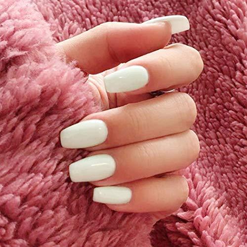 Gortin Coffin Fakes Nails Medium Ballerina Press on Nails White Glossy Acrylic Nails Full Cover Artificial Art Nails for Women 24 pcs